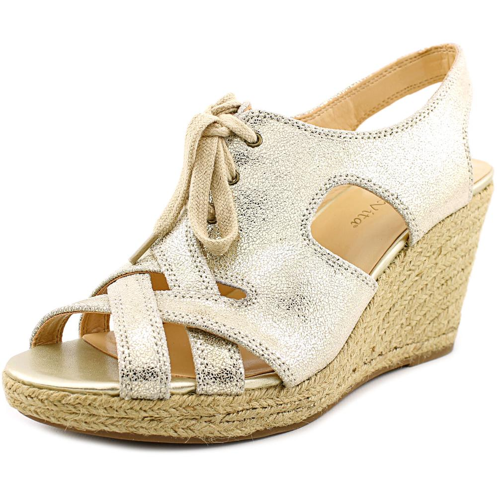 Bella Vita Gracia Women Open Toe Gold Wedge Sandal by Bella Vita