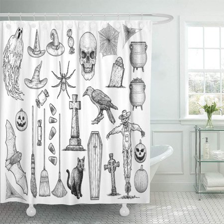 PKNMT Etching Halloween Collection Drawing Engraving Ink Line Gravestone Ghost Grave Bathroom Shower Curtains 60x72 inch - Halloween Gravestones Drawings