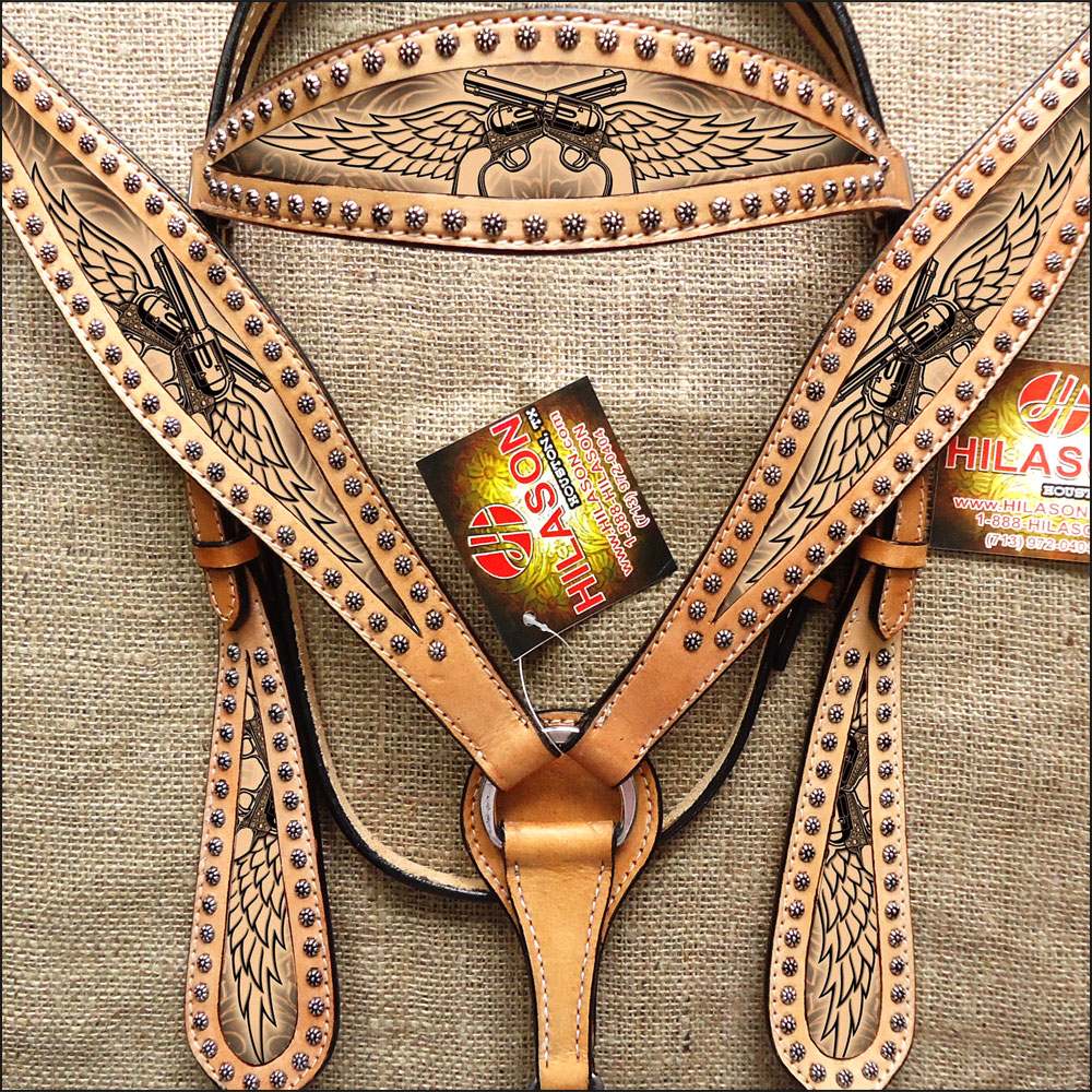 HILASON WESTERN AMERICAN LEATHER HEADSTALL BREAST COLLAR TAN ANGEL WINGS