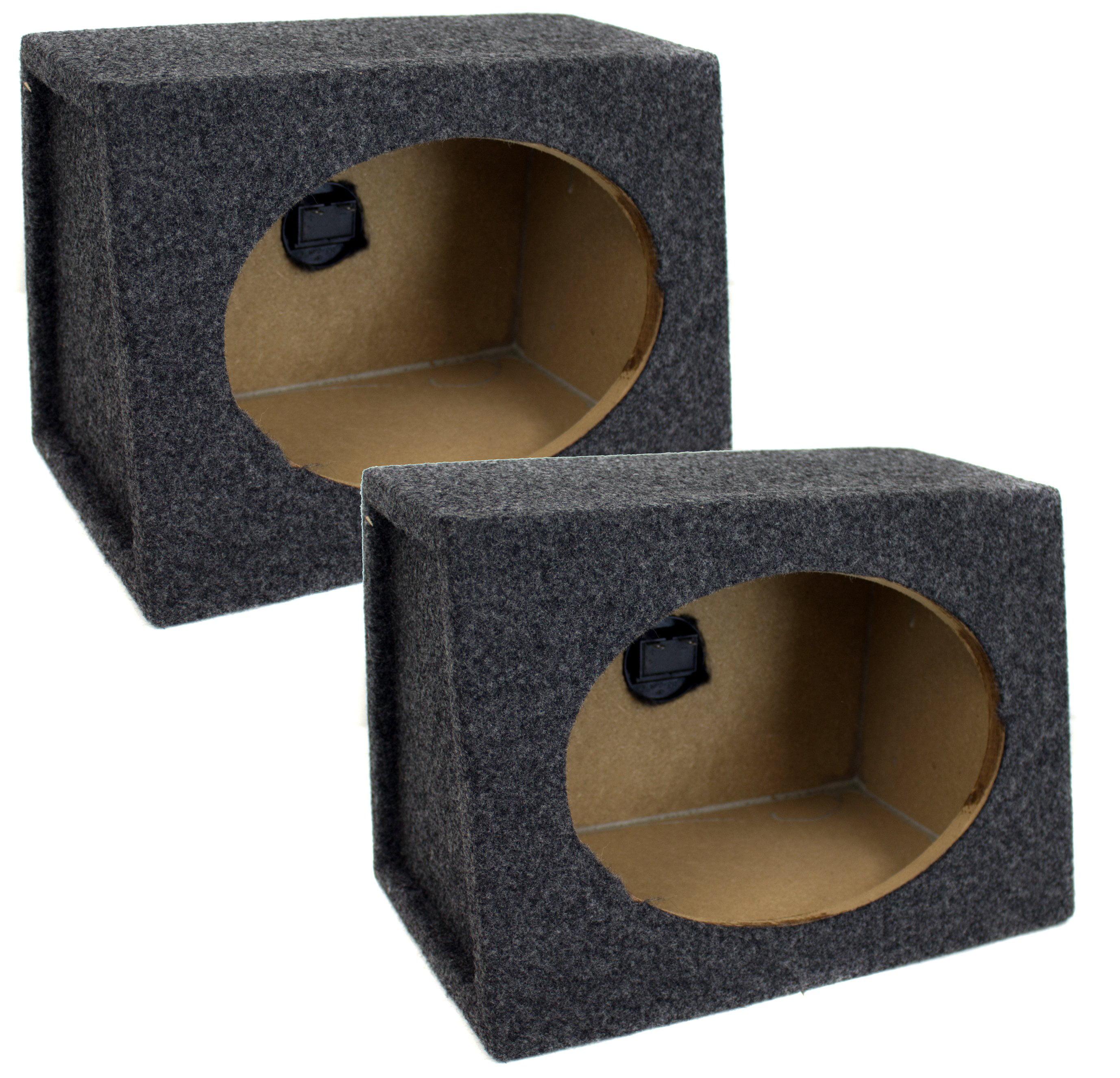 Q Power Angled Style 6 x 9 Inch Car Audio Speaker Box Enclosures, 2 Speakers