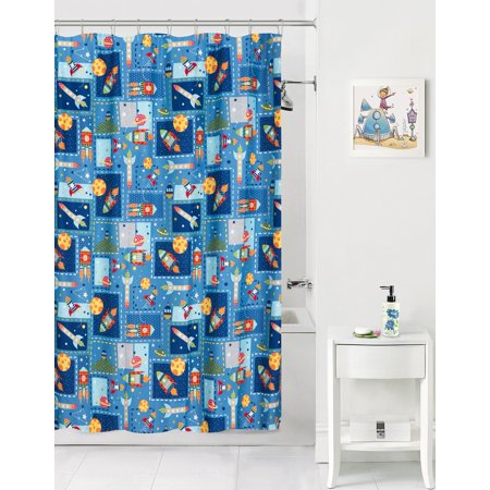 Mainstays Kids Space Coordinating Fabric Shower Curtain