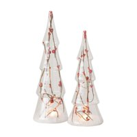 Sullivans Lighted Glass Tree with Red Berry Branch - Set of 2
