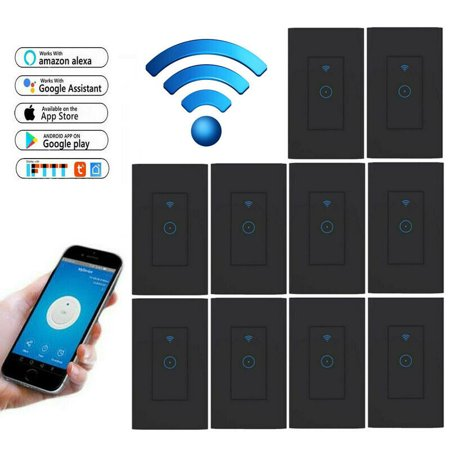 (Pack of 10) Smart Light Switch, Smart Wifi Light Switch with Remote Control and Timer, Works With home Assistant and IFTTT, No Hub required, Easy and Safe installation ,Black thumbnail