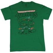 Teenage Mutant Ninja Turtles Mens T-Shirt - Line Drawn Turtles Around Manhole (X-Large)