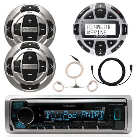 Kenwood Marine Boat Yacht Digital Media USB AUX Bluetooth Stereo Receiver (No CD), 1x Kenwood Digital LCD Display Wired Remote, 2x Wired Remote, 22