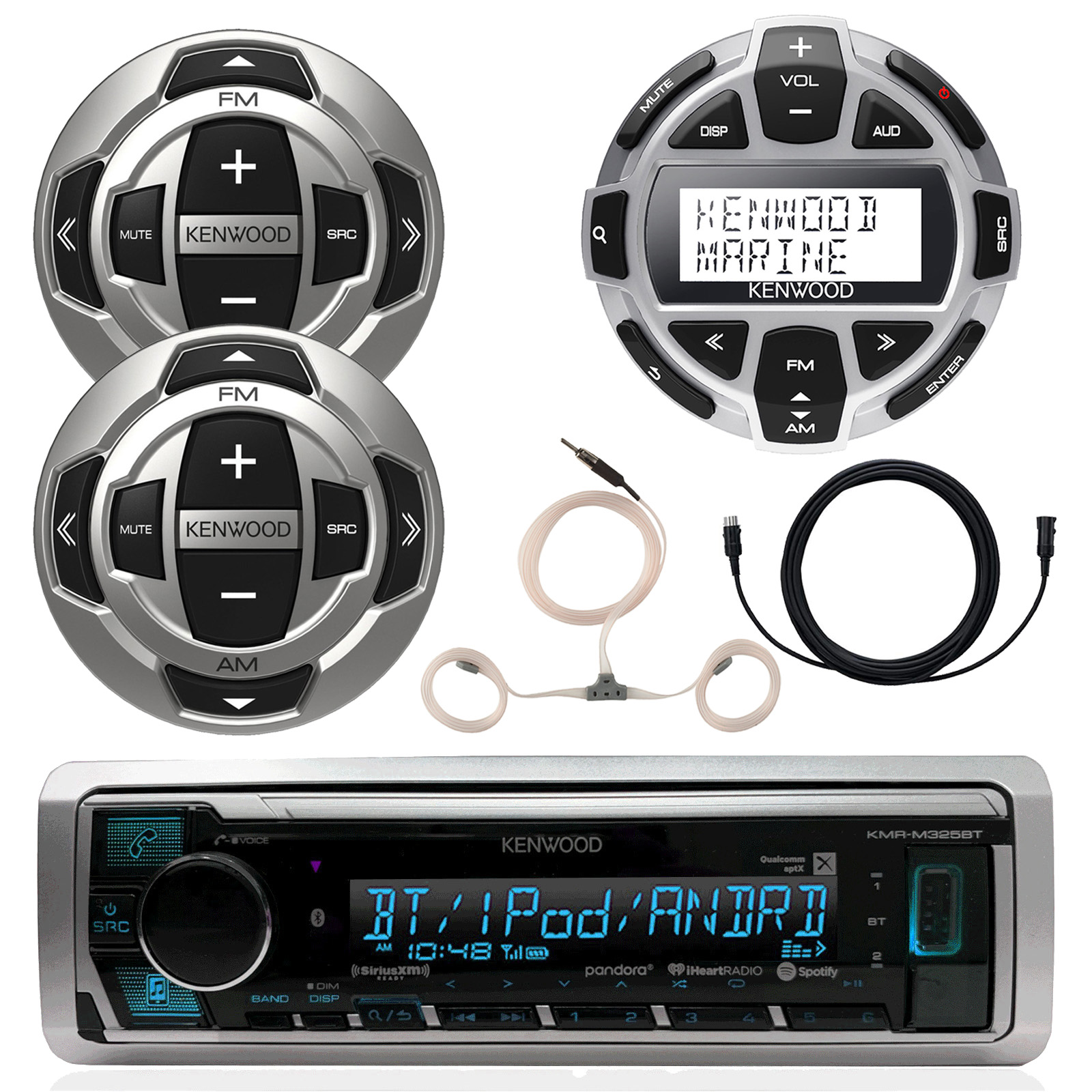 """Kenwood Marine Boat Yacht Digital Media USB AUX Bluetooth Stereo Receiver (No CD), 1x Kenwood Digital LCD Display Wired Remote, 2x Wired Remote, 22"""" Enrock AM/FM Antenna, 7 Meter 22 Ft Extension"""