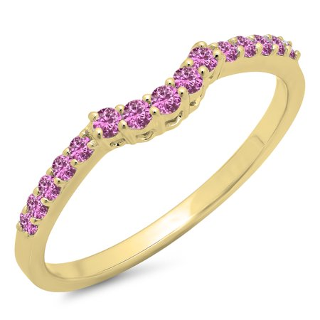 0.30 Carat (ctw) 10K Yellow Gold Round Pink Sapphire Ladies Contour Anniversary Wedding Stackable Band Guard Ring 1/3 CT
