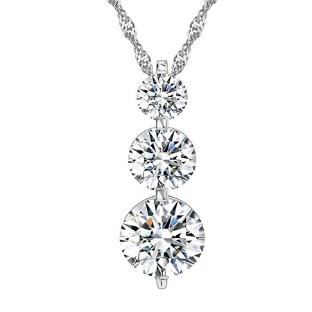 Ginger Lyne Collection Three Stone Round Shape Cascading CZ Pendant Chain Necklace