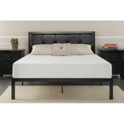 zinus faux leather classic platform bed with steel support slats multiple sizes