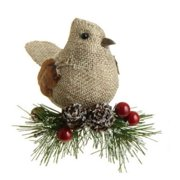 "4.5"" In the Birches Bird with Pinecones and Berries Clip-On Christmas Ornament"