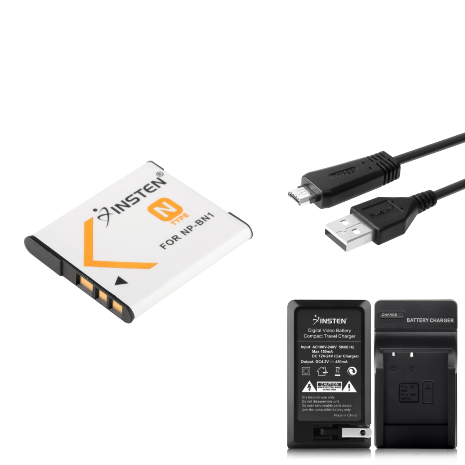Insten USB Data Cable VMC-MD3+Charger+2x NP-BN1 Battery For Sony CyberShot DSC-TX100V