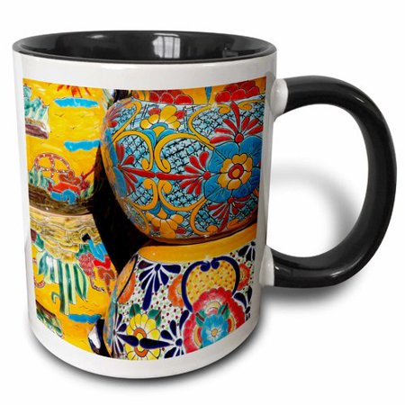 Olde Black Pottery (3dRose Arizona, Tucson, Tubac. Traditional hand-painted Mexican pottery. , Two Tone Black Mug, 11oz)