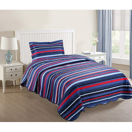 MarCielo 2 Piece Kids Bedspread Quilts Set Throw Blanket for Teens Boys Girls Bed Printed Bedding Coverlet, Twin Size, Blue Striped