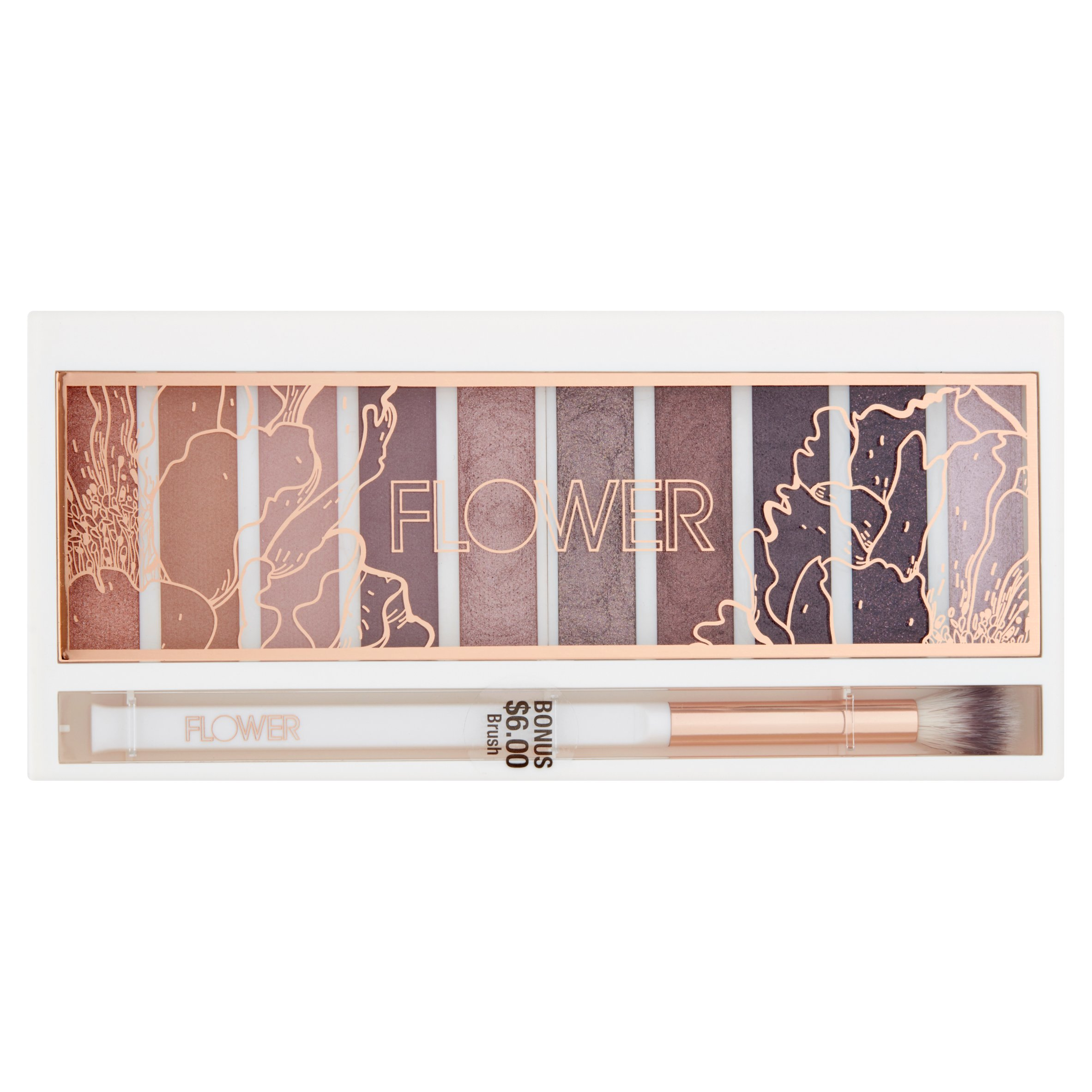 Flower Shimmer & Shade Eyeshadow Palette, Warm Natural