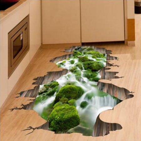 3D Stream Floor/Wall Sticker Removable Mural Decals Vinyl Art Home Decoration - image 5 de 5