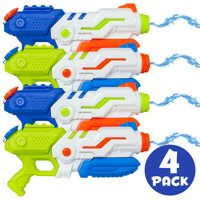Best Choice Products Set of 4 Kids Outdoor Multicolor Water Gun Blasters w/ Pump-Action, 1.3L Capacity, 20ft Range