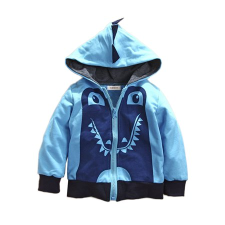 Stylesilove Boy Cute Animal 3D Hoodie Jacket (18-24 Months, Blue Dinosaur)