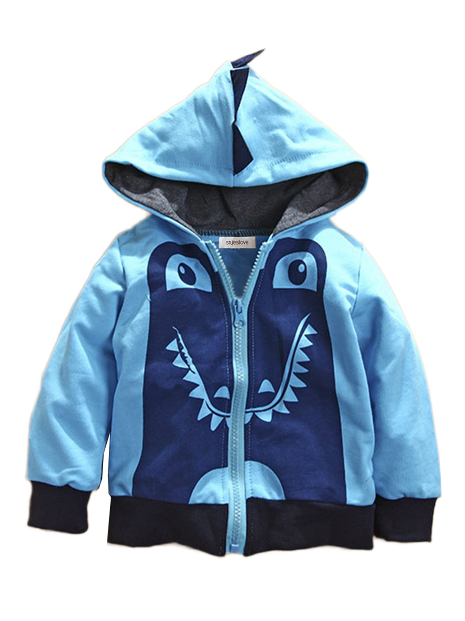 Stylesilove Boy Cute Animal 3D Hoodie Jacket (18-24 Months, Blue Dinosaur)