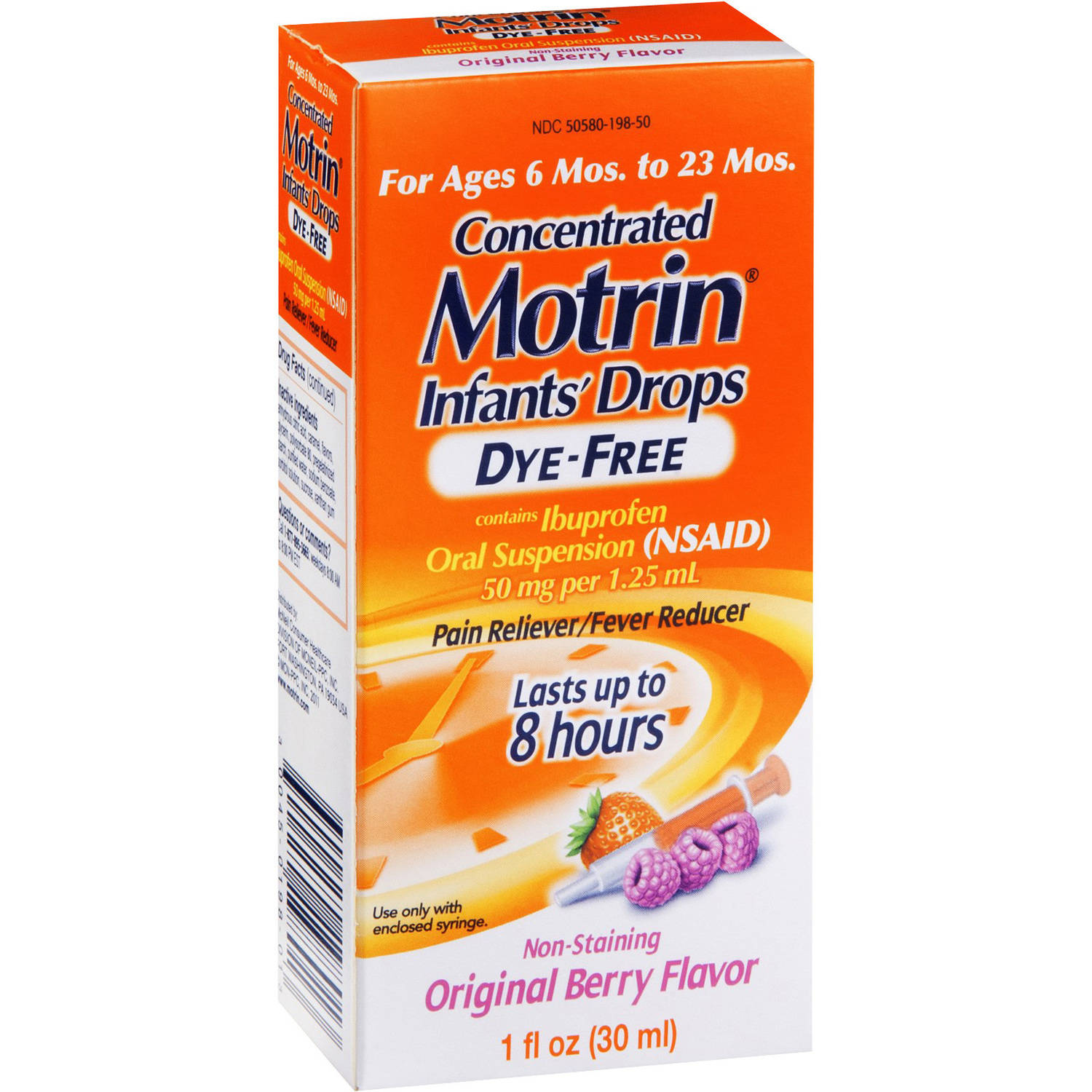 Motrin Infant Pain Reliever/Fever Reducer Infants' Drops Concentrated Dye-Free Berry Flavor, 1 OZ (Pack of 6)