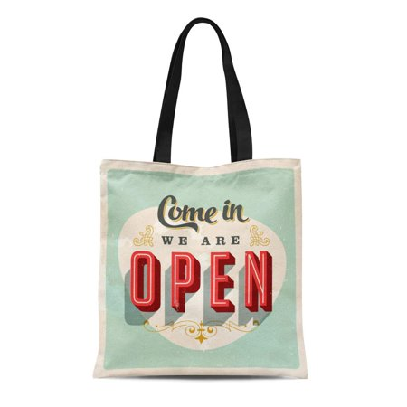 KDAGR Canvas Bag Resuable Tote Grocery Shopping Bags Vintage Store Sign Open Grunge Effects Can Be Easily Removed for Brand New Clean Tote