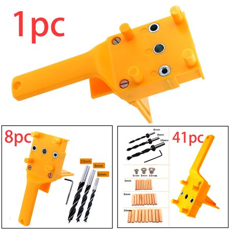 Woodworking Handheld Jig Drill Guide Positioning Tools For Wood Dowel Drilling Hole Locator Saw Accessories Fits 6 8 10mm Bits (Best Drill Bits For Clean Holes In Wood)