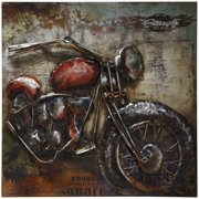 """Empire Art Direct Motorcycle 2 Hand Painted 3D Metal Wall Art, 40"""" x 40"""" x 3.5"""", Ready to Hang"""