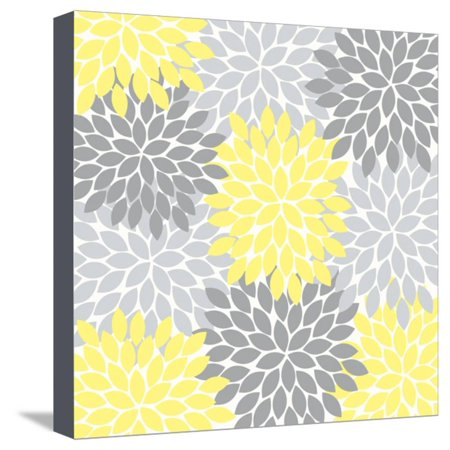 Flower Burst Yellow Dark and Light Gray Stretched Canvas Print Wall Art By Tamara Robertson ()