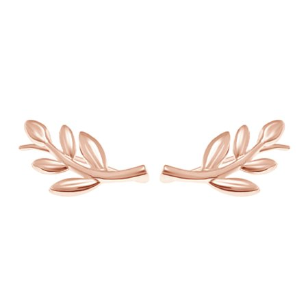 Sterling Silver Leaf Design Earrings - Tiny Olive Leaf Ear Crawler Climber Earrings In Rose Gold Over Sterling Silver
