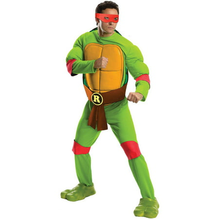 Teenage Mutant Ninja Turtles Deluxe Raphael Men's Adult Halloween Costume, 1 Size](Adult Ninja Turtle Costume)