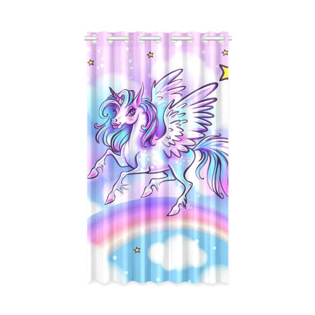 Mkhert Unicorn Blackout Window Curtain Drapes Bedroom Living Room Kitchen Curtains 52x84 Inch Walmart Com Walmart Com