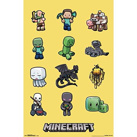 Minecraft Characters 34X22 5 Video Game Gamer Art Print Poster