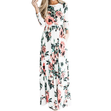 Beautifully Printed Gown (Women Sexy Maxi Dress 3/4 Sleeve Evening Gown Floral Print)