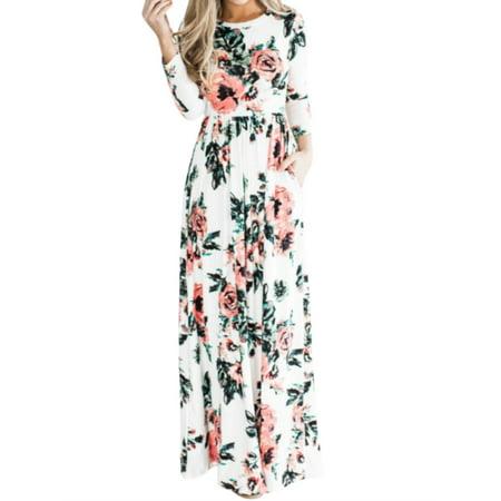Women Sexy Maxi Dress 3/4 Sleeve Evening Gown Floral Print Dress - Floral Maxi Dress
