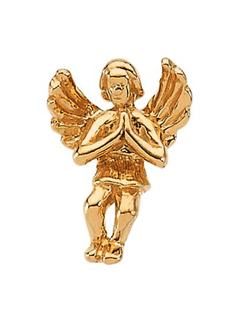 14K Yellow Gold Sitting Praying Angel Pin Brooch by Yellow-Gold Brooches