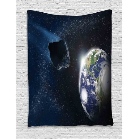 Galaxy Tapestry, Attack of the Asteroid Rocky Dark Body Comet on Planet Earth Meteor Shower Print, Wall Hanging for Bedroom Living Room Dorm Decor, 40W X 60L Inches, Dark Blue Grey, by (The Asteroids Galaxy Tour Out Of Frequency)