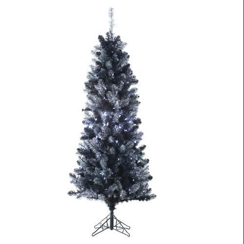 6' Pre-Lit Black Tinsel Slim Artificial Christmas Tree - Clear LED Lights