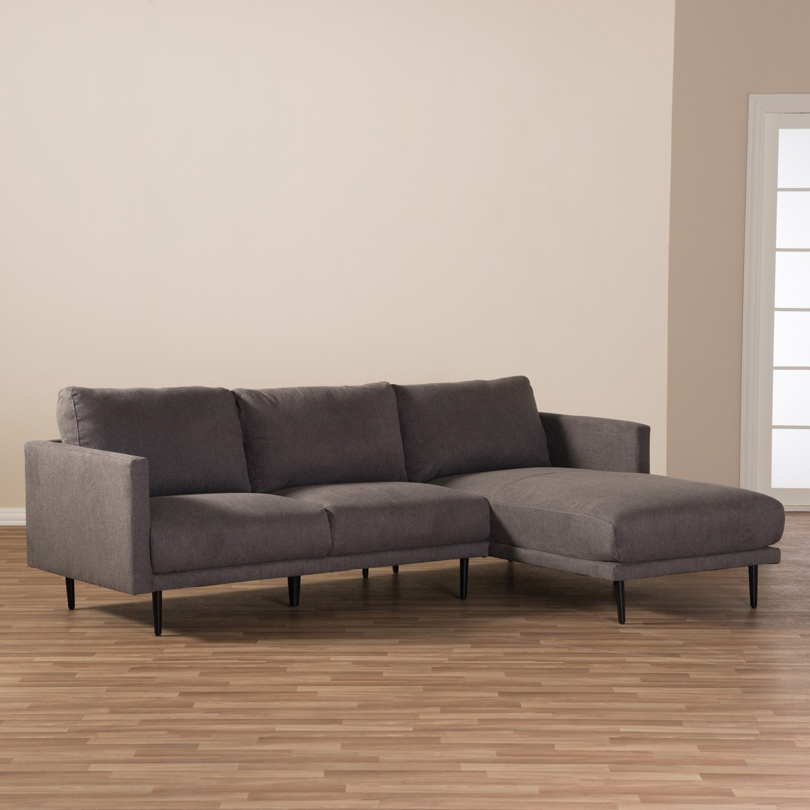 Baxton Studio Riley Retro Mid-Century Modern Grey Fabric Upholstered Right Facing Chaise Sectional Sofa
