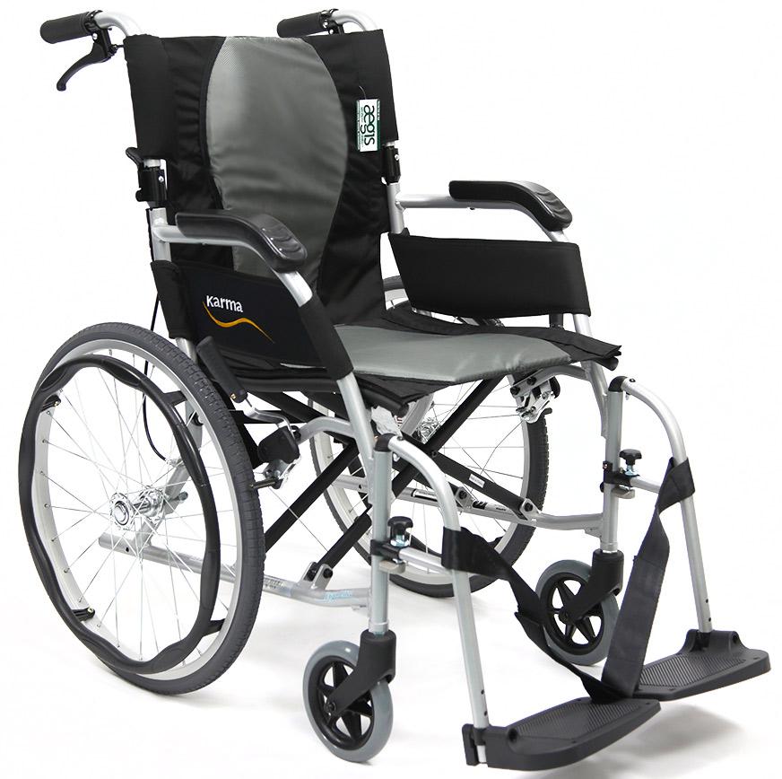 Karman Ergonomic Wheelchair Ergo Flight S-2512, Pearl Silver Frame