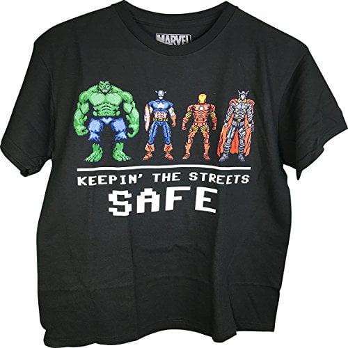 Avengers Hulk Captain America Iron Man Thor Keepin' The Streets Safe Adult T-Shirt (Medium 38/40)