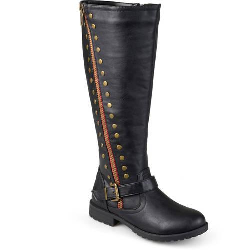 Womens Wide Calf Zipper Studded Riding Boots