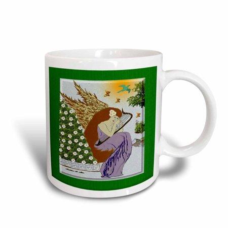 3dRose Angel Playing Harp In A Garden - Christmas Art 9, Ceramic Mug, 15-ounce - Garden Ceramic Art