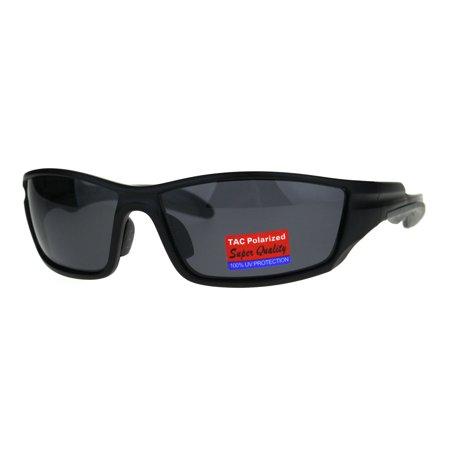 Anti Glare Polarized Rectangular Warp Plastic Sport Sunglasses Matte Black