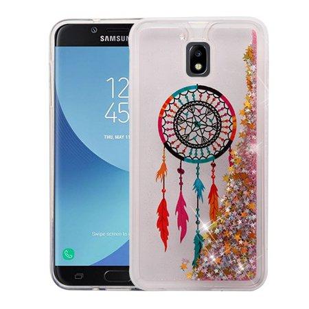 Samsung Galaxy J7 (2018), J737, J7 V 2nd Gen, J7 Refine - Phone Case BLING Hybrid Liquid Glitter Quicksand Rubber Silicone Gel TPU Protector Hard Cover - Dreamcatcher