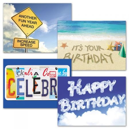 It's A Sign Birthday Greeting Cards - Set of 8 (4 designs), Large 5