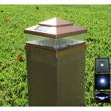 4 Pack Plastic Copper Outdoor 5 LED 78Lumens Solar Post Cap Light PL248 (Designed to fit on Hollow Vinyl/PVC/Plastic or Solid Wood/Composite Posts) (Size 5