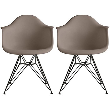 Magnificent 2Xhome Set Of 2 Two Grey Modern Eames Style Armchair Dining Chair Black Wire Leg Eiffel Dining Room Chair With Arm For Living Room Dining Room Creativecarmelina Interior Chair Design Creativecarmelinacom