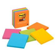 """Post-it Super Sticky Notes 3"""" x 3"""", Bright Colors, 4 Pads"""