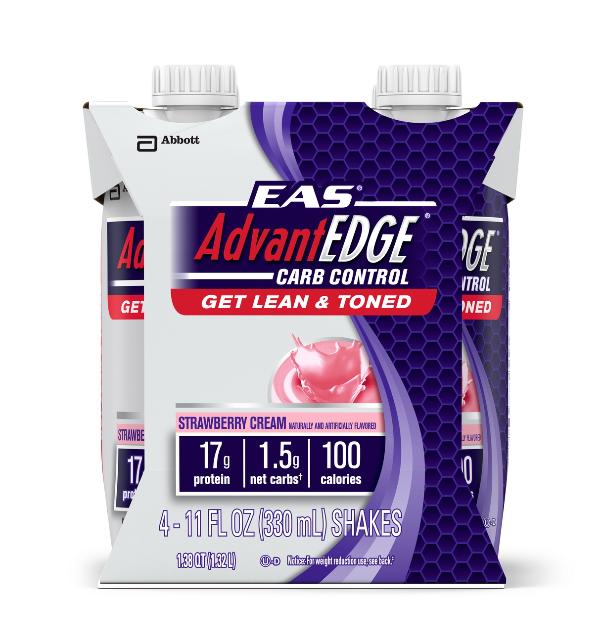 EAS AdvantEDGE Carb Control Ready-to-Drink Shake, Strawberry Cream,  11 fl oz (Pack of 4)
