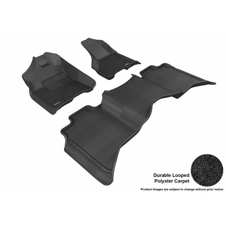 3D Maxpider 2009 2012 Dodge Ram 1500 Crew Cab Front   Second Row Set All Weather Floor Liners In Black Carpet