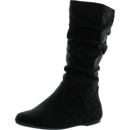 Soda Womens Zuluu-2 Soda Girly Fashion Slouchy Knee-high Flat Boots with Side Zipper in Black Faux Suede